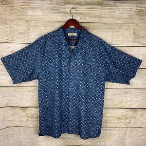 Tommy Bahama Silk Blue Geometric Floral Shirt